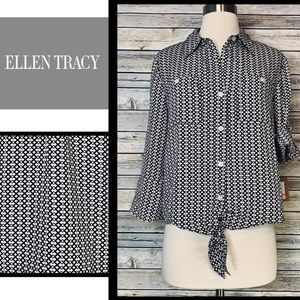 Just In Listing! NWT Ellen Tracy RollTab Blouse, S